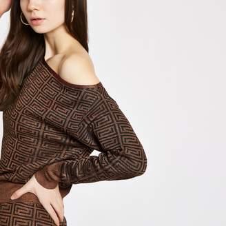 River Island Womens Brown geo print asymmetric jumper