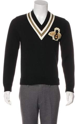 Gucci 2016 Wool Bee V-Neck Sweater w/ Tags