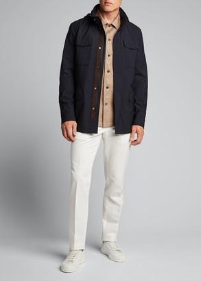 Ermenegildo Zegna Men's Garment-Dyed Cotton-Linen Chino Pants