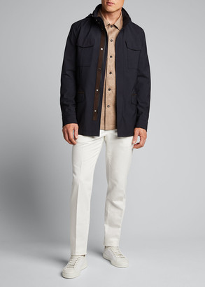 Ermenegildo Zegna Men's Trim Garment-Dyed Cotton-Linen Chino Pants
