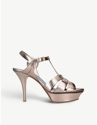 Saint Laurent Tribute 75 metallic-leather platform sandals