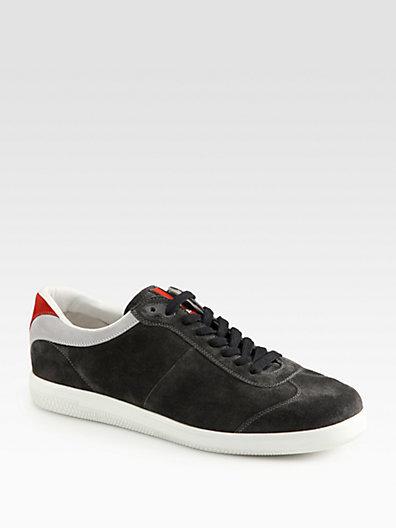 Prada Suede Lace-Up Sneaker