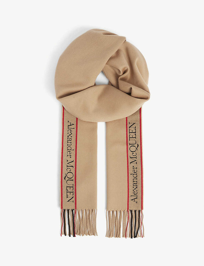 Alexander McQueen Selvedge Skull wool and cashmere-blend scarf