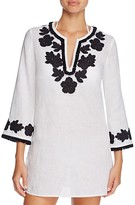 Tory Burch Floral Appliqué Fringe Tunic Swim Cover-Up