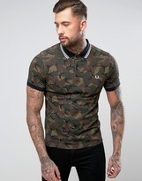 Fred Perry Camo Print Polo Shirt In Green