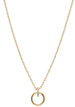 "AVA NADRI 18k Gold-Plated Cubic Zirconia Ring Pendant Necklace, 16"" + 1"" extender"
