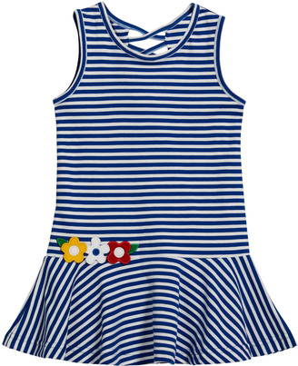 Florence Eiseman Girl's Striped-Knit Floral Lace-Up Dress, Size 2-6X