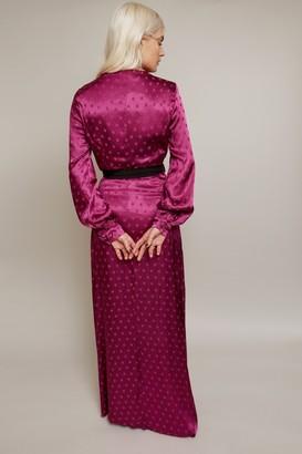 Little Mistress Tasmin Mulberry Polka-Dot Asymmetric Maxi Wrap Dress