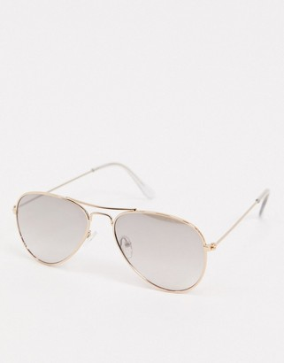 Accessorize Alice aviator sunglasses with mirror gradient in gold