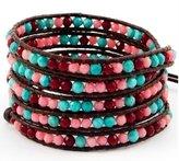 Chan Luu Coral Mix Wrap Bracelet on Brown Leather