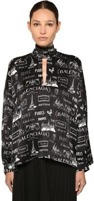 Balenciaga PARIS PRINTED SATIN BOW COLLAR BLOUSE
