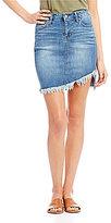 Celebrity Pink Asymmetrical Frayed Hem Denim Skirt