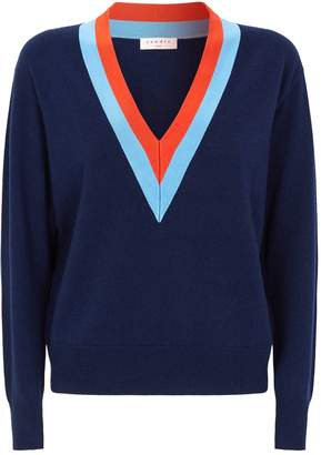 Sandro Wool-Cashmere Contrast Stripe Sweater