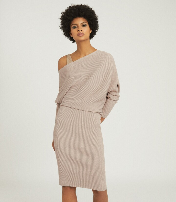 Reiss Lara - Off-the-shoulder Ribbed Dress in Stone
