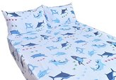 J-pinno Sharks Queen Sheet Set Bedroom Decoration Gift, 100% Cotton, Flat Sheet + Fitted Sheet + Pillowcase Bedding Set (Queen, 3)