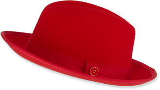 Keith and James Men's King Red-Brim Wool Fedora Hat, Rose