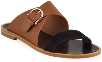 Salvatore Ferragamo Cassie Flat Bicolor Gancio Slide Sandals