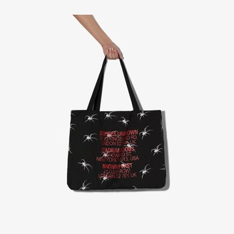 Services Unknown X Browns East X Browns East black and white spider tote bag