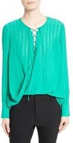Derek Lam 10 Crosby Women's Stripe Silk Lace-Up Blouse