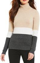 Calvin Klein Ribbed Turtleneck Long Sleeve Fine Gauge Knit Colorblock Sweater