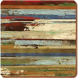 Creative Tops Rustic Abstract Premium Cork-Backed Coasters, Wood, Brown, 4-Piece, Large