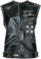 Heikki Salonen - riveted and printed vest - women - Cotton/Leather - S