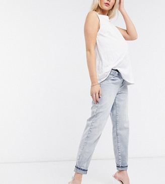 Urban Bliss Maternity straight leg jeans in mid wash blue