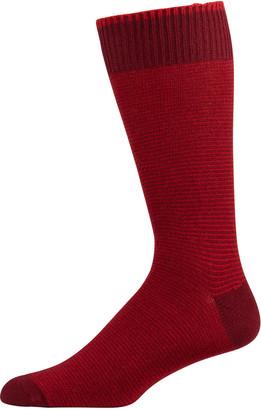 Marcoliani Milano Men's Micro-Stripe Cashmere Socks