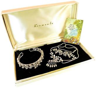 One Kings Lane Vintage 1940s Krementz White Gold Crystal Parure - Neil Zevnik