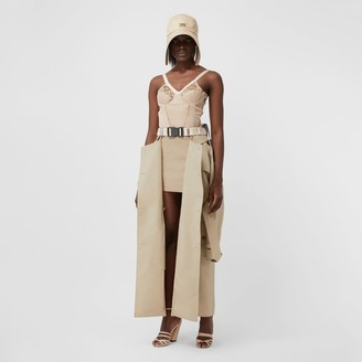 Burberry Detachable Trench Coat Detail Cotton Twill Mini Skirt