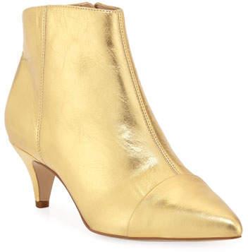 67a5e24d1d0 Kinzey Metallic Leather Kitten-Heel Booties