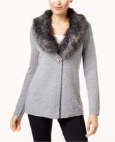 JM Collection Faux-Fur-Collar Brooch Cardigan, Created for Macy's