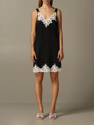 Blumarine Silk Dress With Lace Inserts