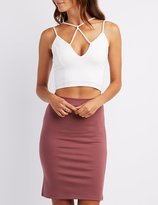 Charlotte Russe Strappy Caged Crop Top