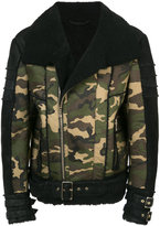 Balmain camouflage leather jacket
