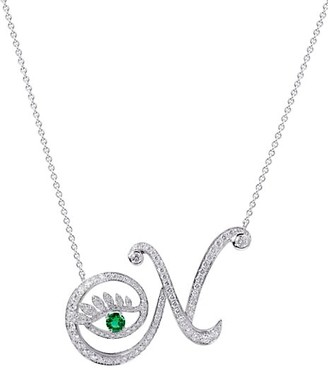 Tabayer Eye 18K White Gold, Emerald & Diamond Natural Pendant Necklace