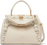 Fendi Peekaboo Floral-appliquéd Leather Shoulder Bag
