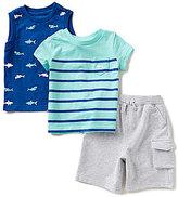 Little Me Baby Boys 12-24 Months Striped Top, Shark-Print Tank, & Shorts Set