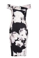 Quiz Black And Cream Floral Print Bardot Midi Dress
