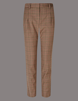 Autograph Wool Blend Checked Tapered Leg Trousers