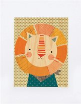 Petit Collage Large Unframed Print on Wood- Friendly Lion