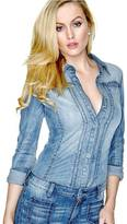 GUESS Clean Front Denim Shirt in Street Style Blue Wash