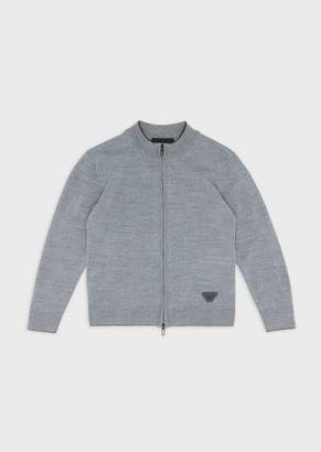 Emporio Armani Mixed-Wool Cardigan With Full-Length Zipper
