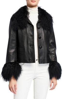 Saks Potts Dorthe Lamb Leather Shearling-Collar & Cuff Jacket, Black