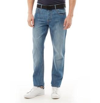 Kangaroo Poo Mens Straight Leg Jeans Mid Wash