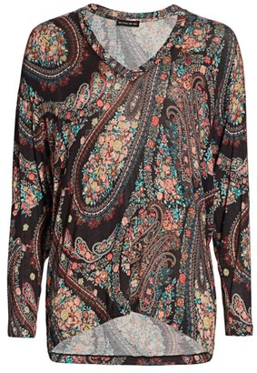 Etro Floral Paisley V-Neck Knit Top