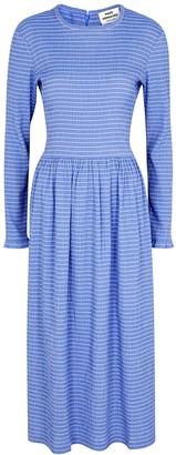 Mads Norgaard Docca blue smocked woven midi dress
