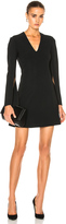 Calvin Klein Collection Kenner Piped V-Neck Long Sleeve Dress