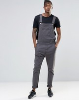Asos Overalls In Bow Leg In Washed Black