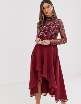 ASOS DESIGN midi dress with linear embellished bodice and wrap skirt